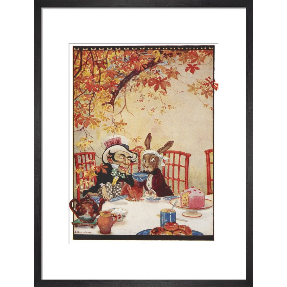 The Mad Hatter's Tea party print in black frame