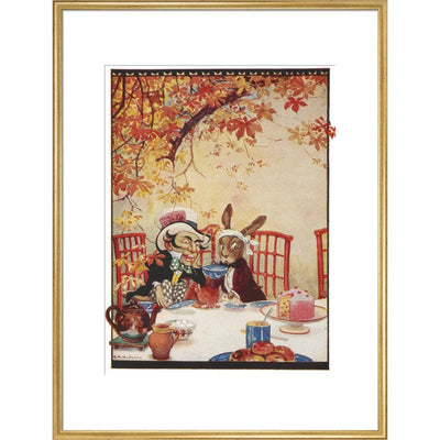 The Mad Hatter's Tea party print in gold frame