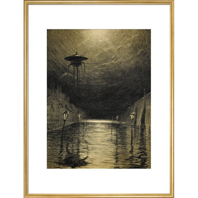 The Flooded City print in gold frame