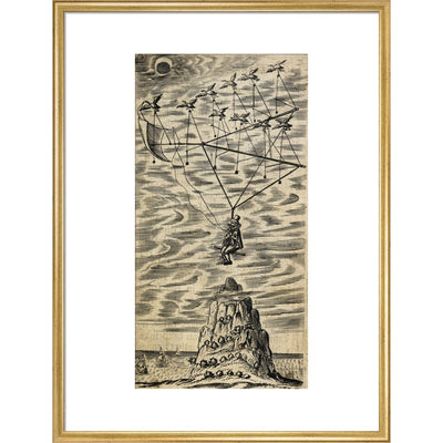 The Man in the Moone print in gold frame