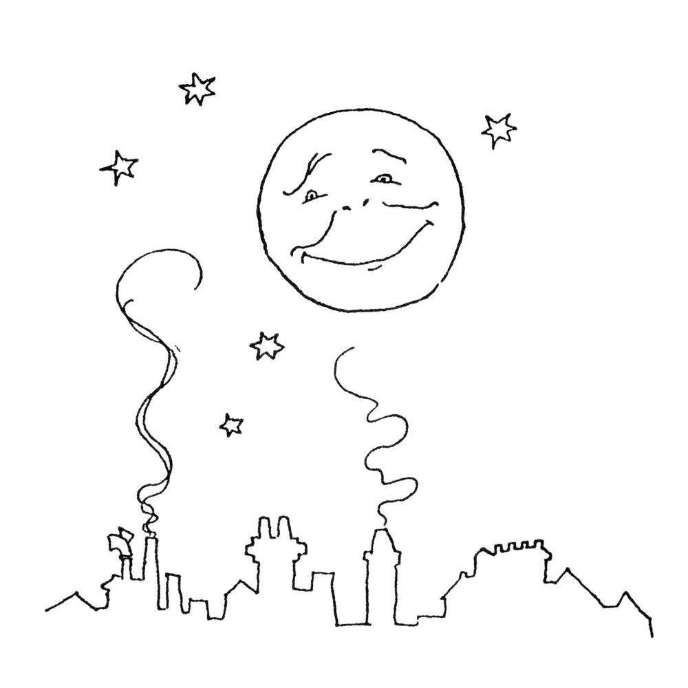 Smiling moon and rooftops print