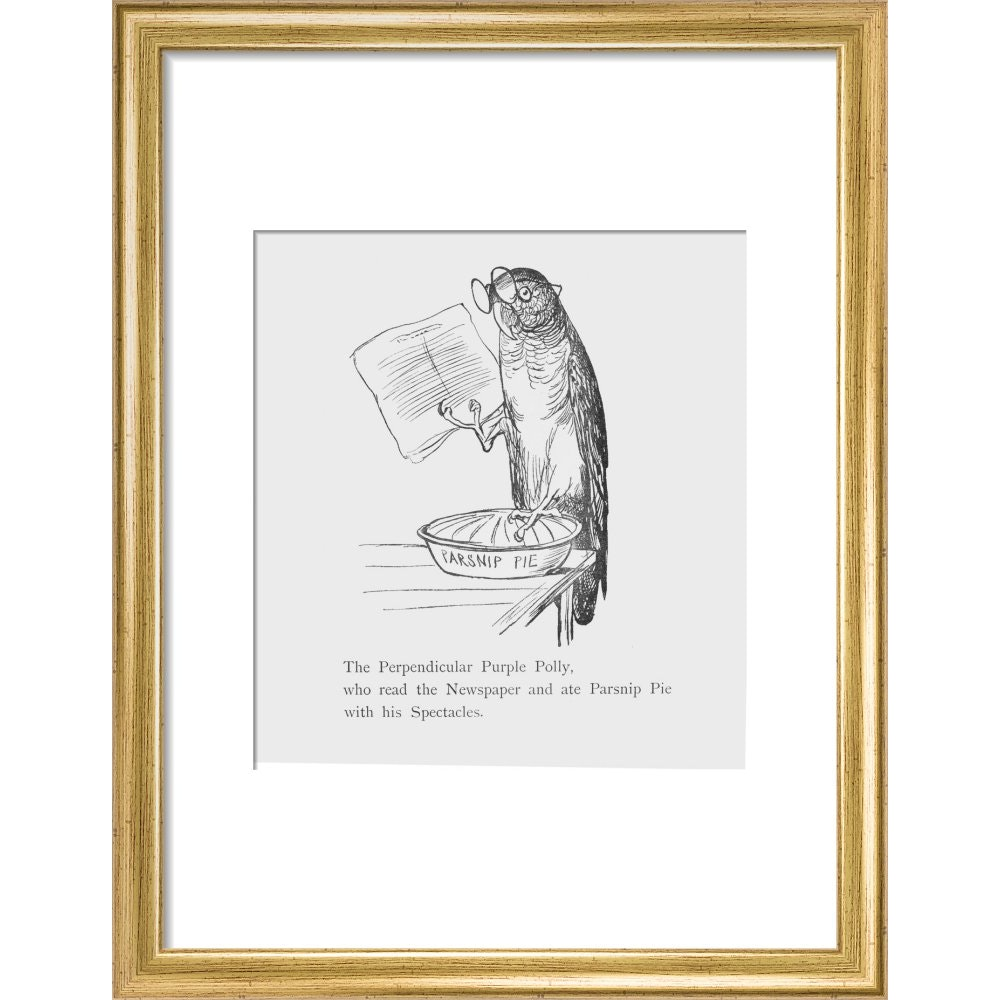 Purple parrot print in gold frame