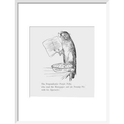 Purple parrot print in white frame