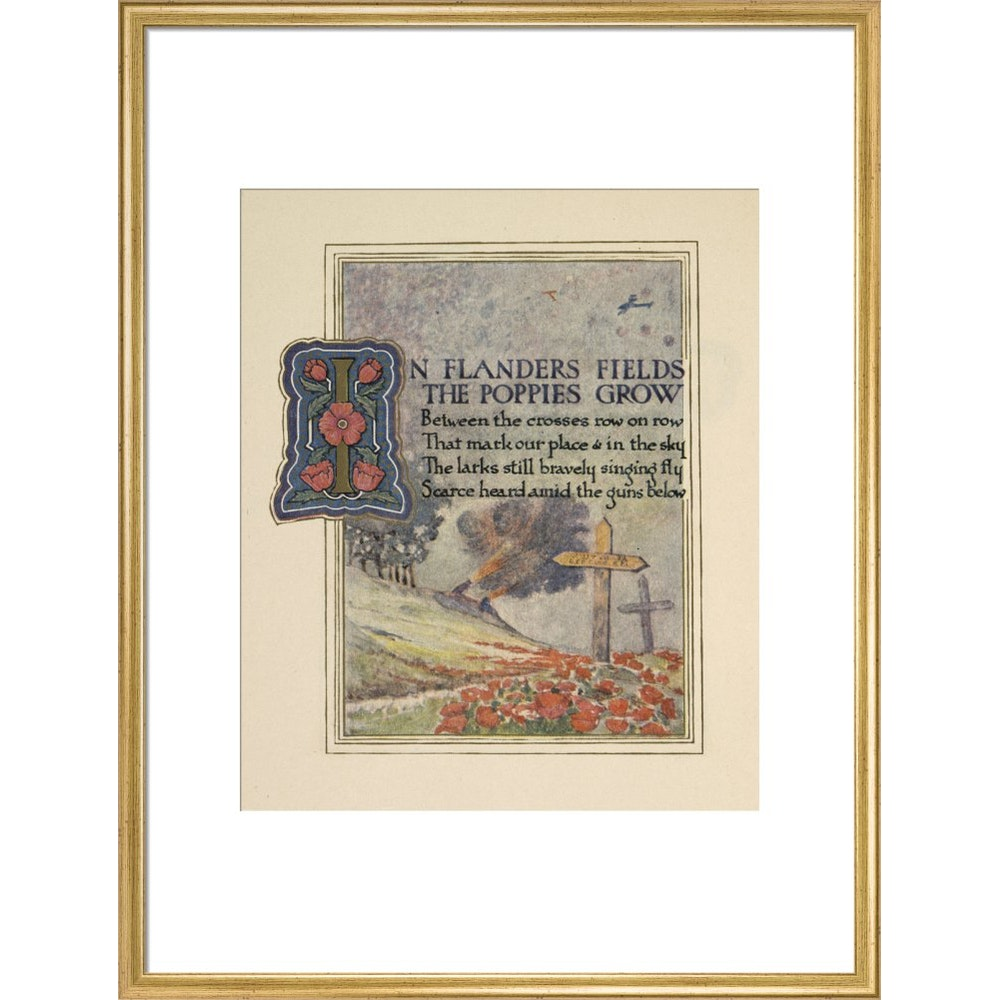 In Flanders fields print in gold frame
