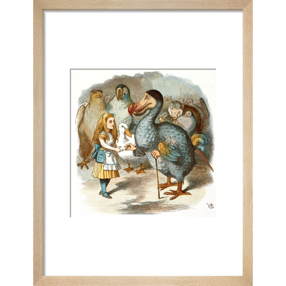 The Caucus-Race print in natural frame