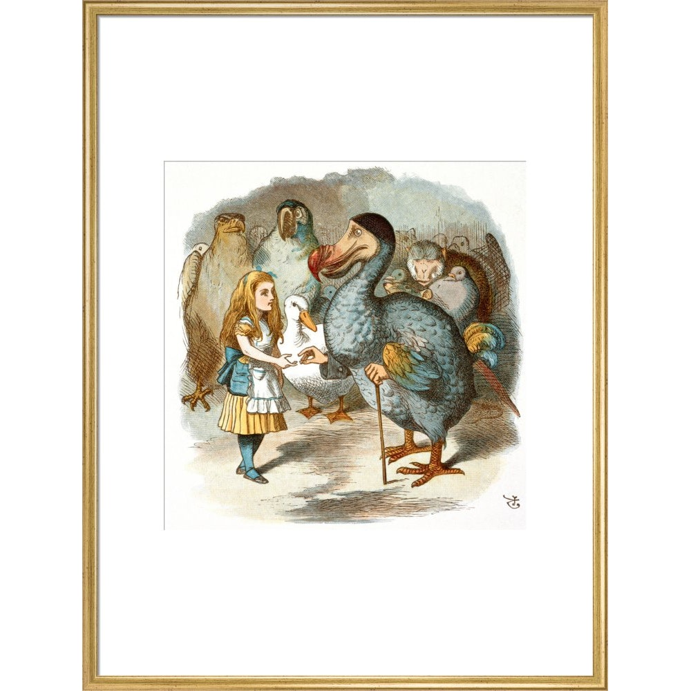 The Caucus-Race print in gold frame