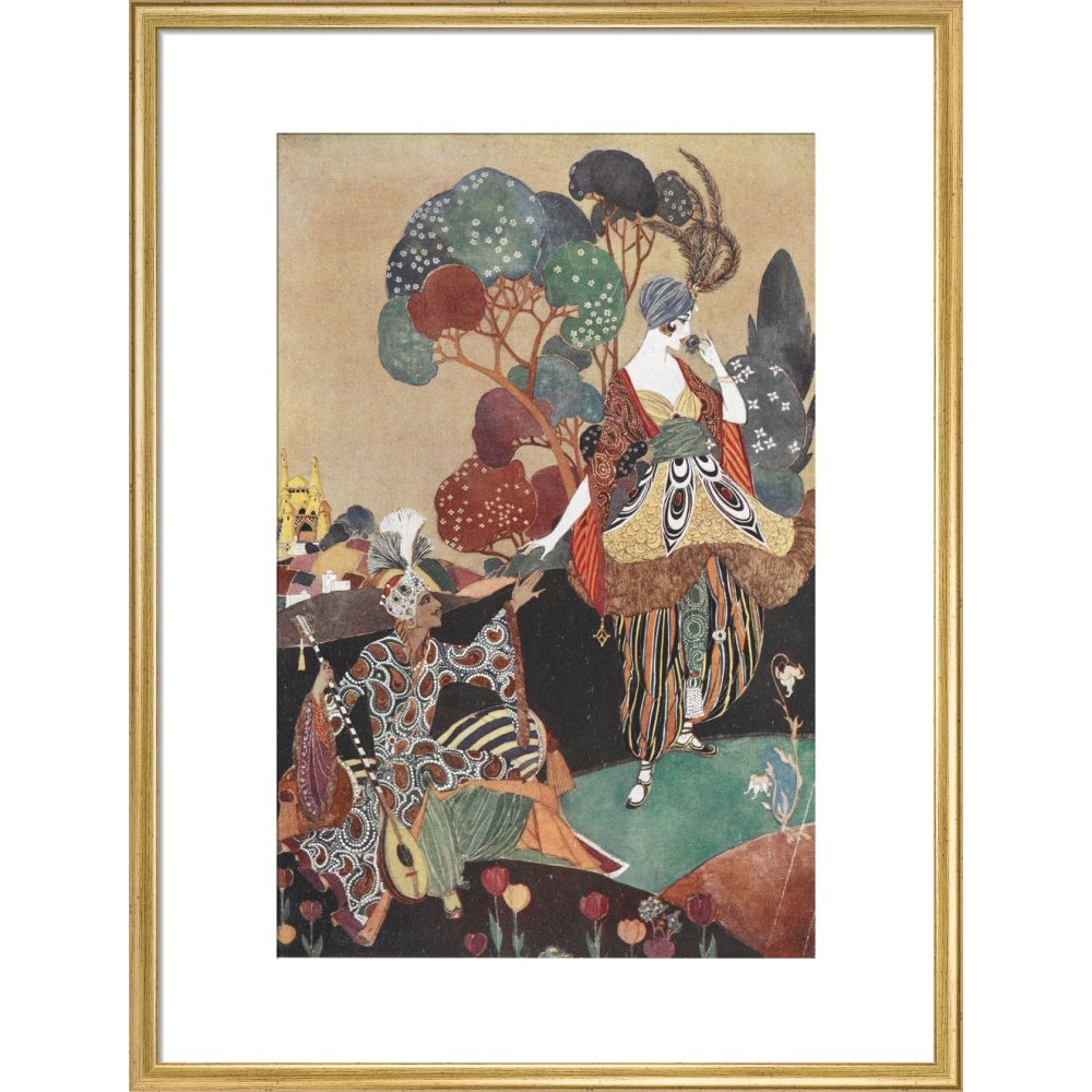 Rubaiyat of Omar Khayyam print in gold frame