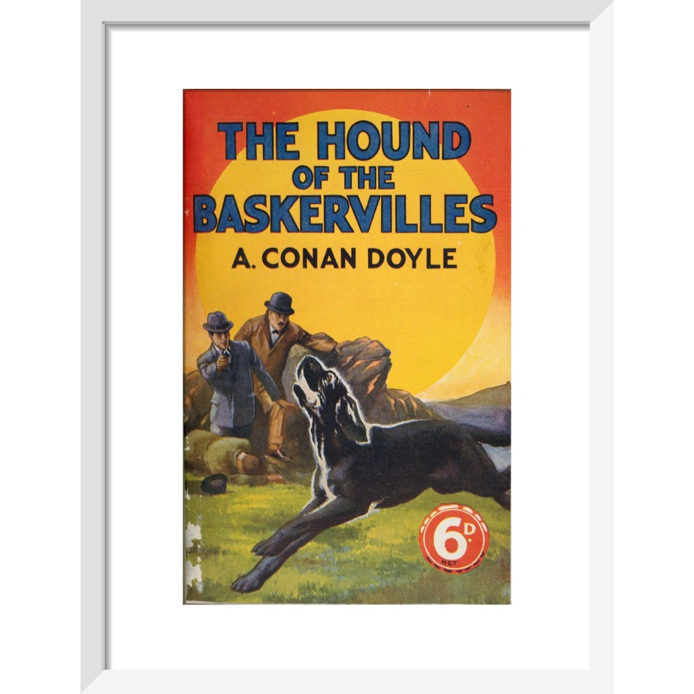 Hound of the Baskervilles book cover print in white frame