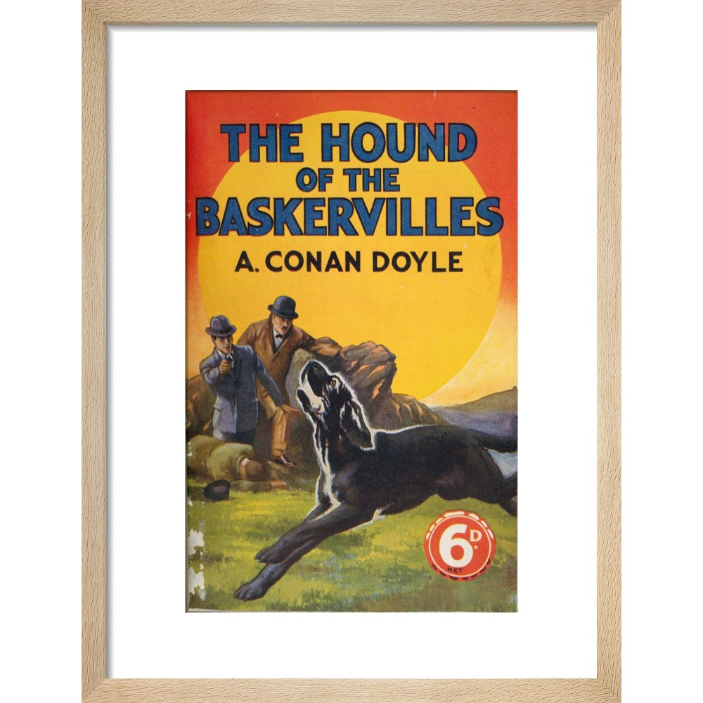 Hound of the Baskervilles book cover print in natural frame