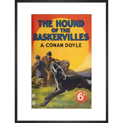 Hound of the Baskervilles book cover print in black frame