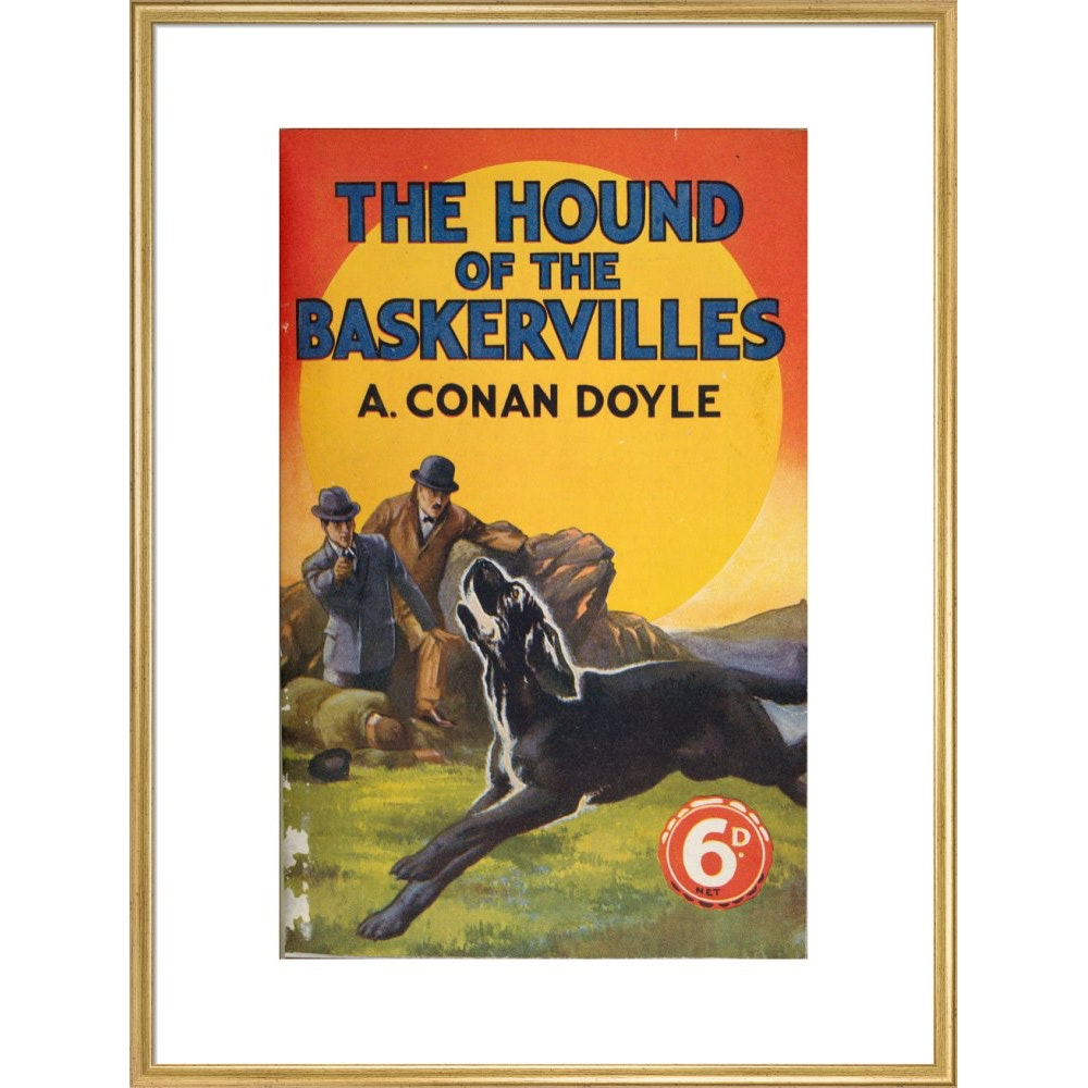 Hound of the Baskervilles book cover print in gold frame