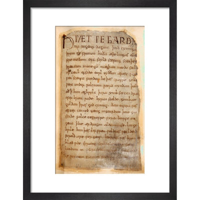 Beowulf print in black frame