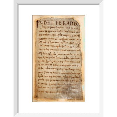 Beowulf print in white frame