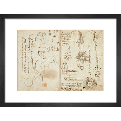 Notebook of Leonardo da Vinci print in black frame
