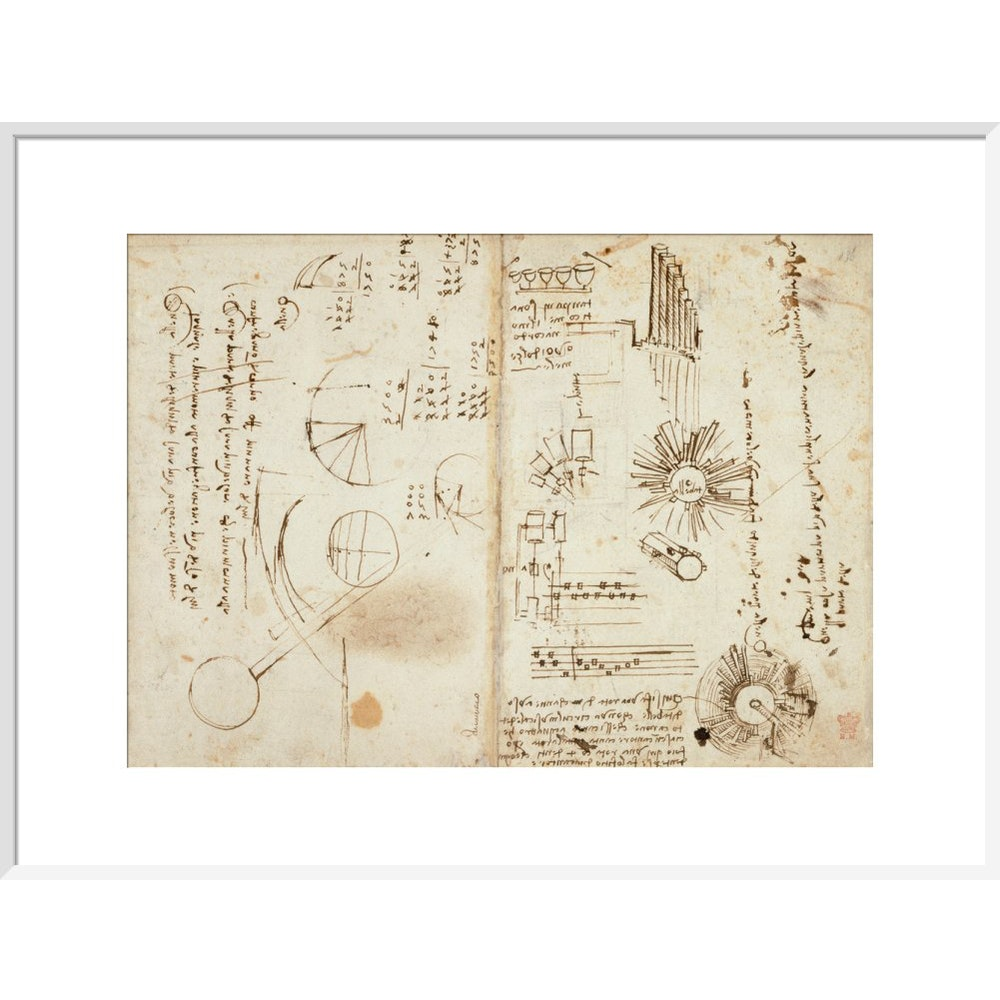 Notebook of Leonardo da Vinci print in white frame