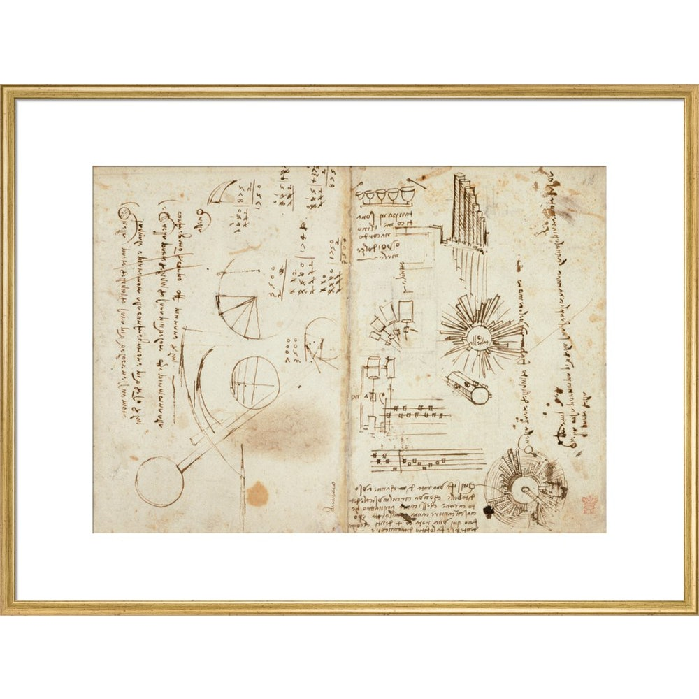 Notebook of Leonardo da Vinci print in gold frame