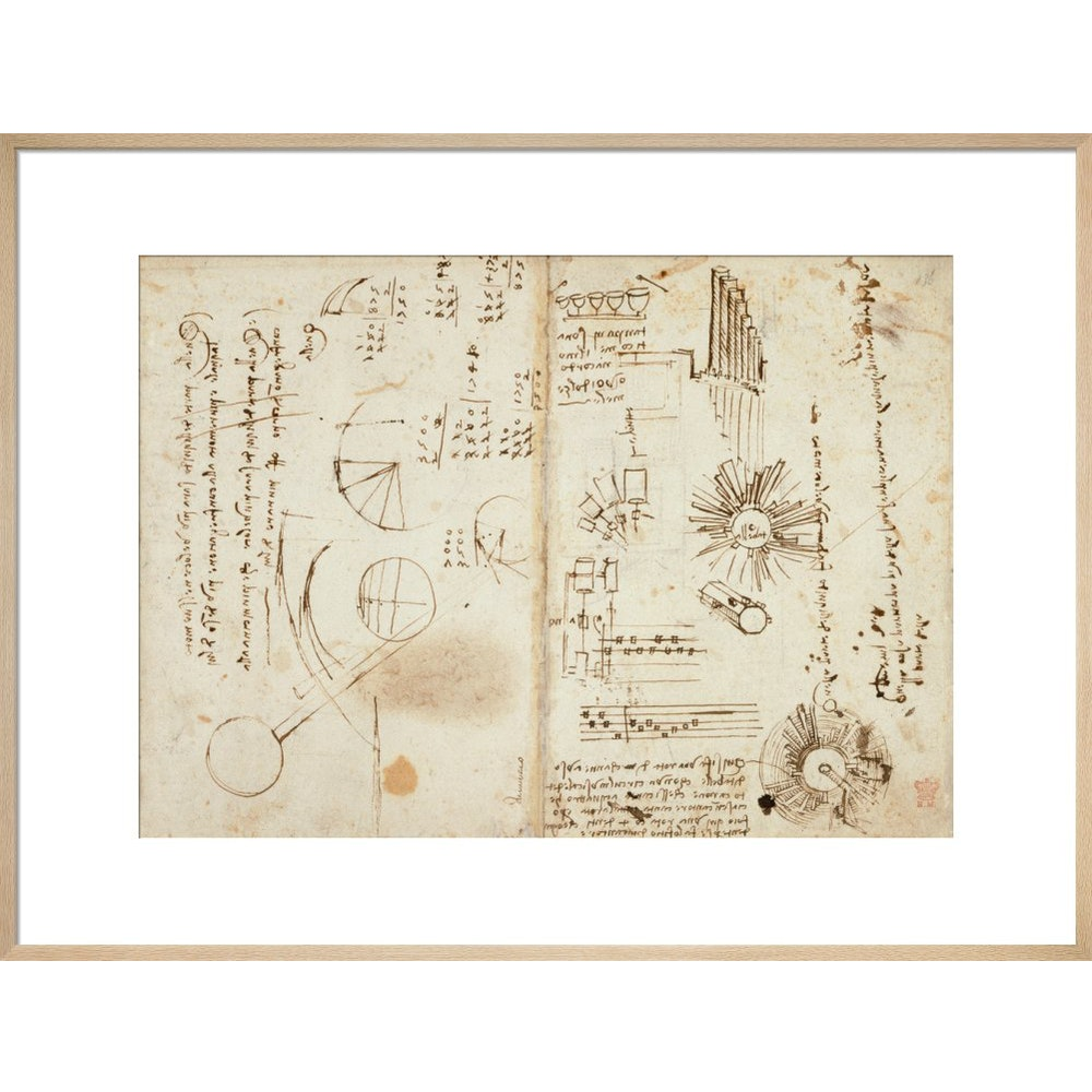 Notebook of Leonardo da Vinci print in natural frame