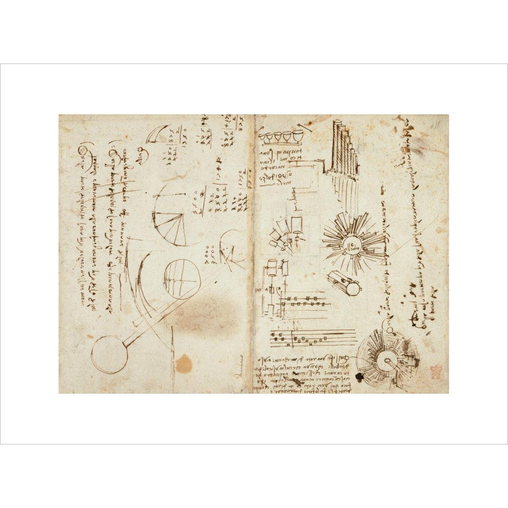 Notebook of Leonardo da Vinci print unframed