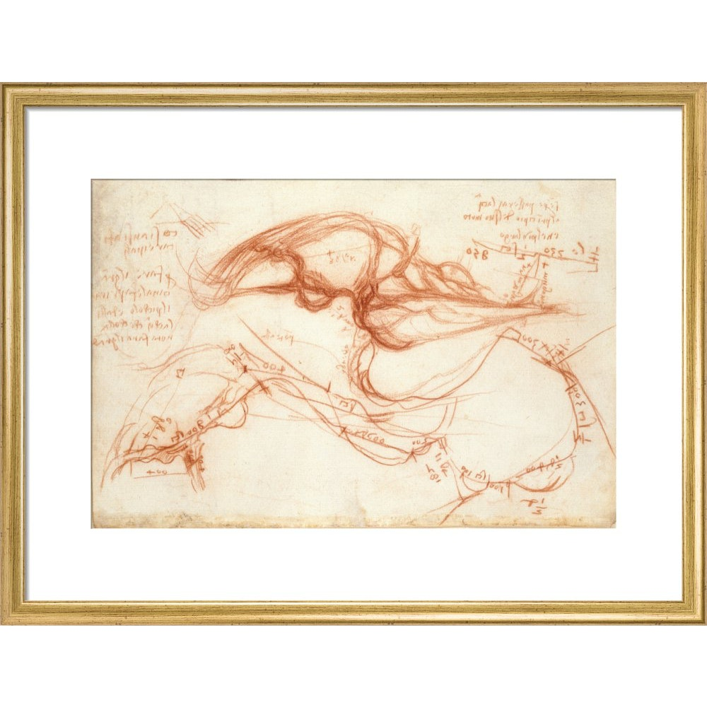 Notebook of Leonardo da Vinci (The River Arno) print in gold frame