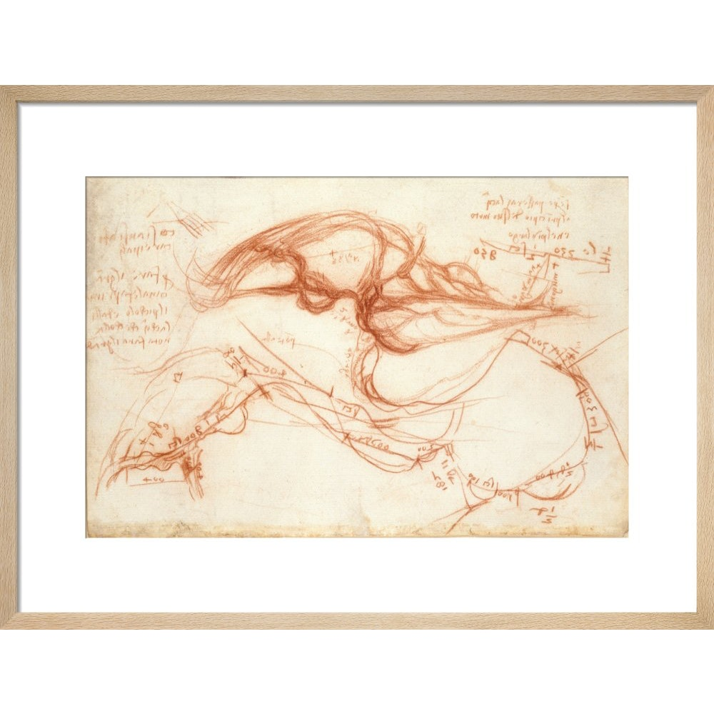 Notebook of Leonardo da Vinci (The River Arno) print in natural frame