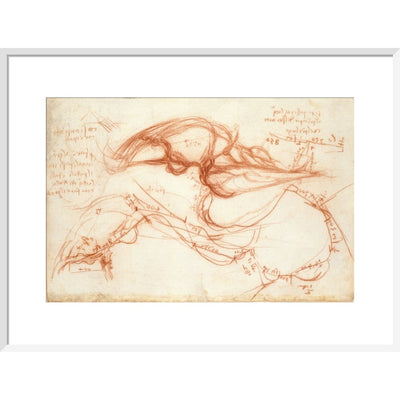 Notebook of Leonardo da Vinci (The River Arno) print in white frame