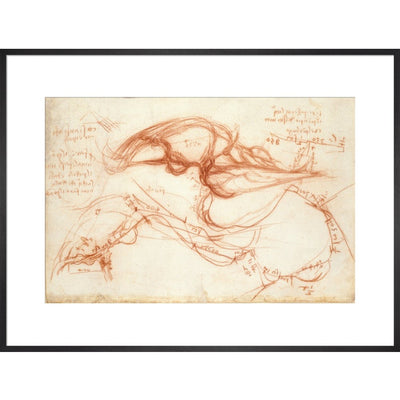 Notebook of Leonardo da Vinci (The River Arno) print in black frame
