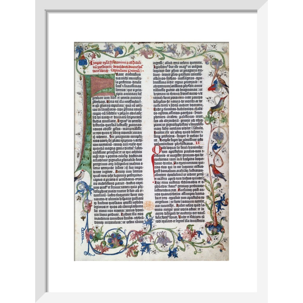 Page from the Gutenberg Bible print in white frame