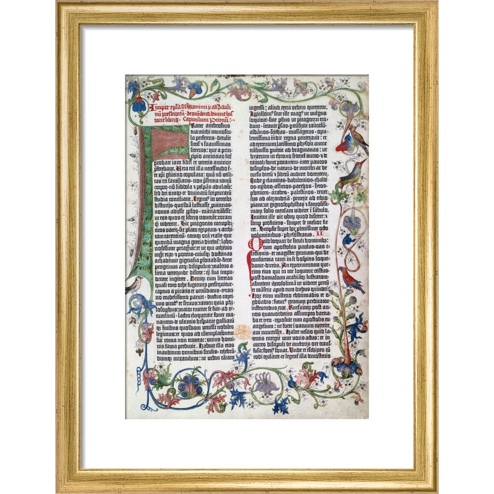 Page from the Gutenberg Bible print in gold frame