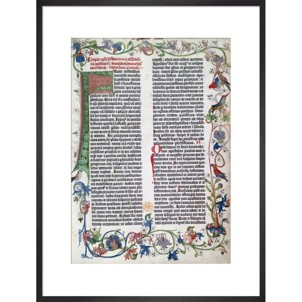 Page from the Gutenberg Bible print in black frame