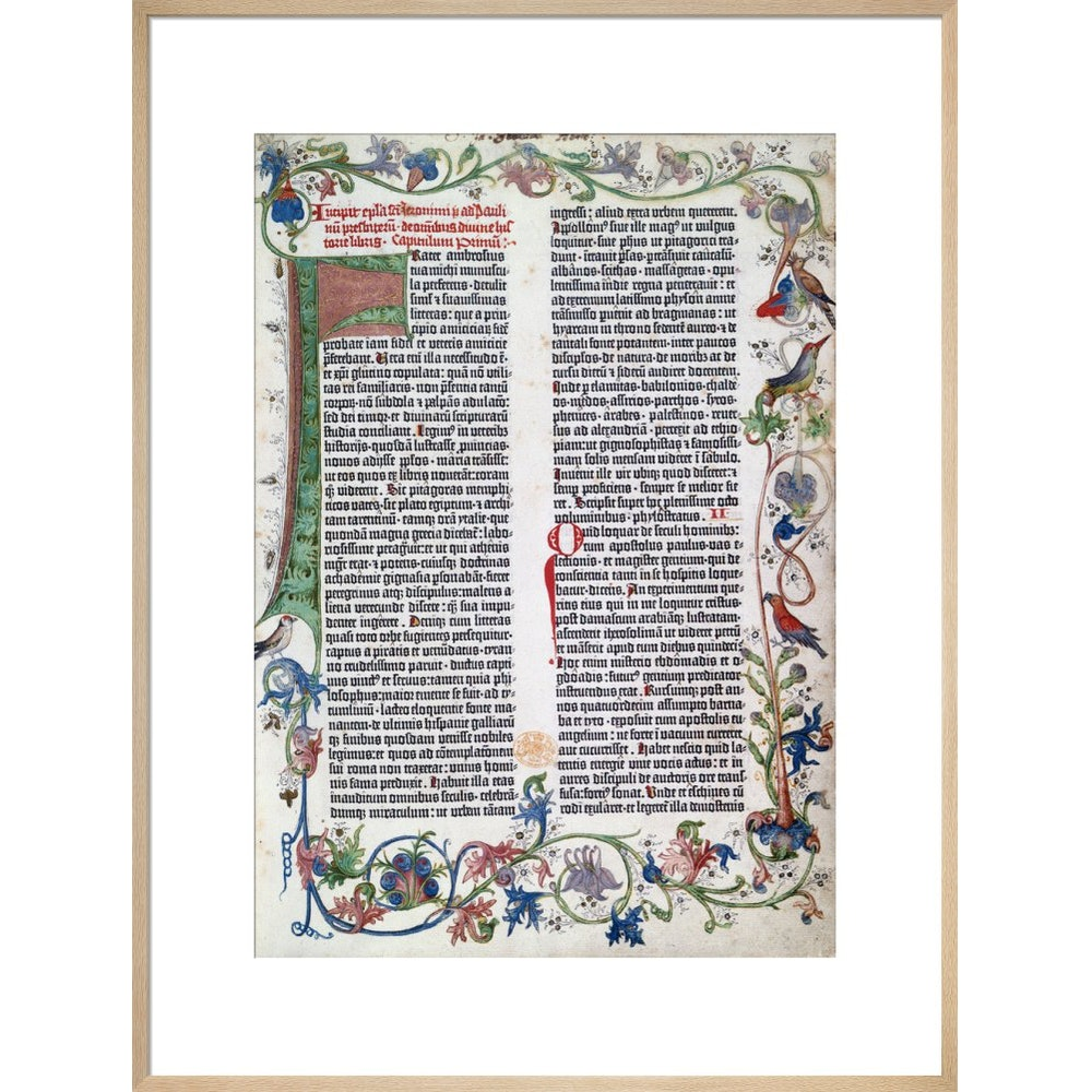 Page from the Gutenberg Bible print in natural frame