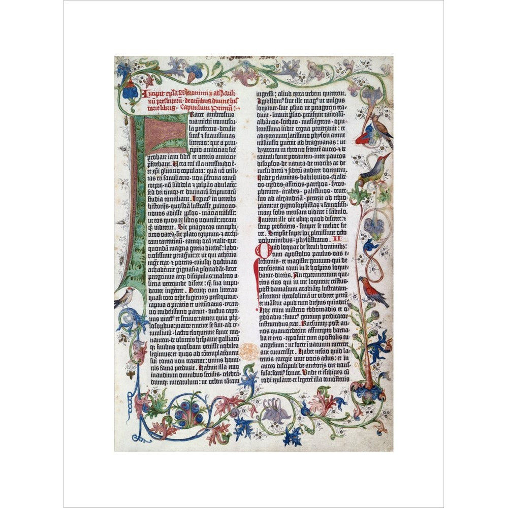 Page from the Gutenberg Bible print unframed