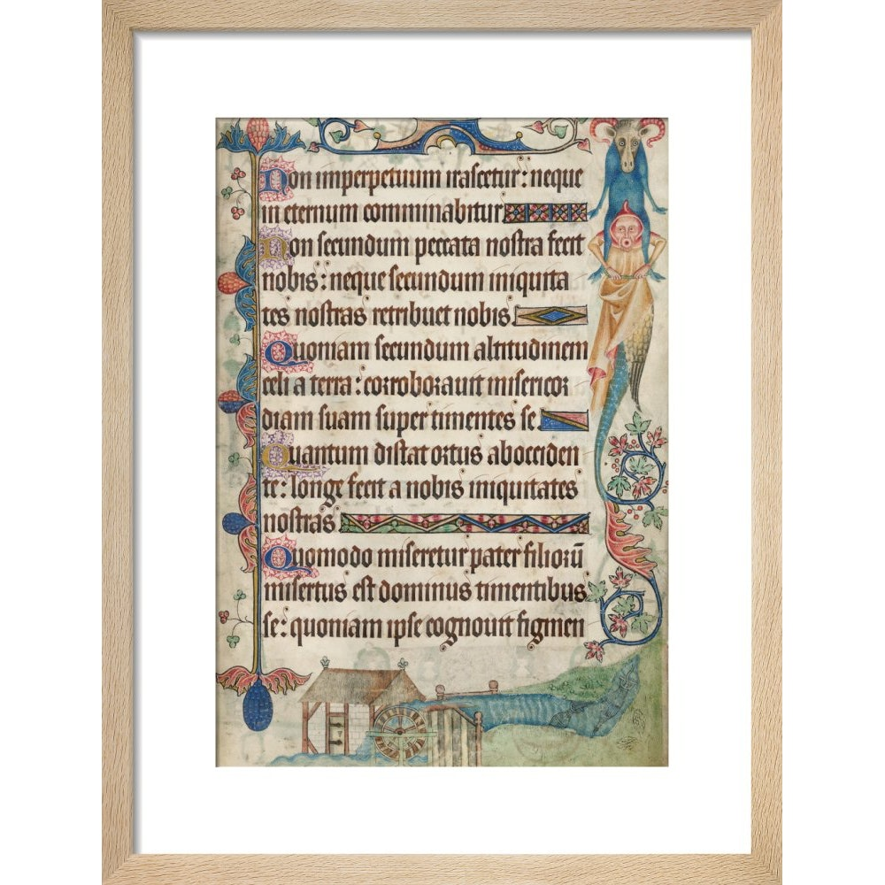 Psalm 103, with a watermill, from the Luttrell Psalter print