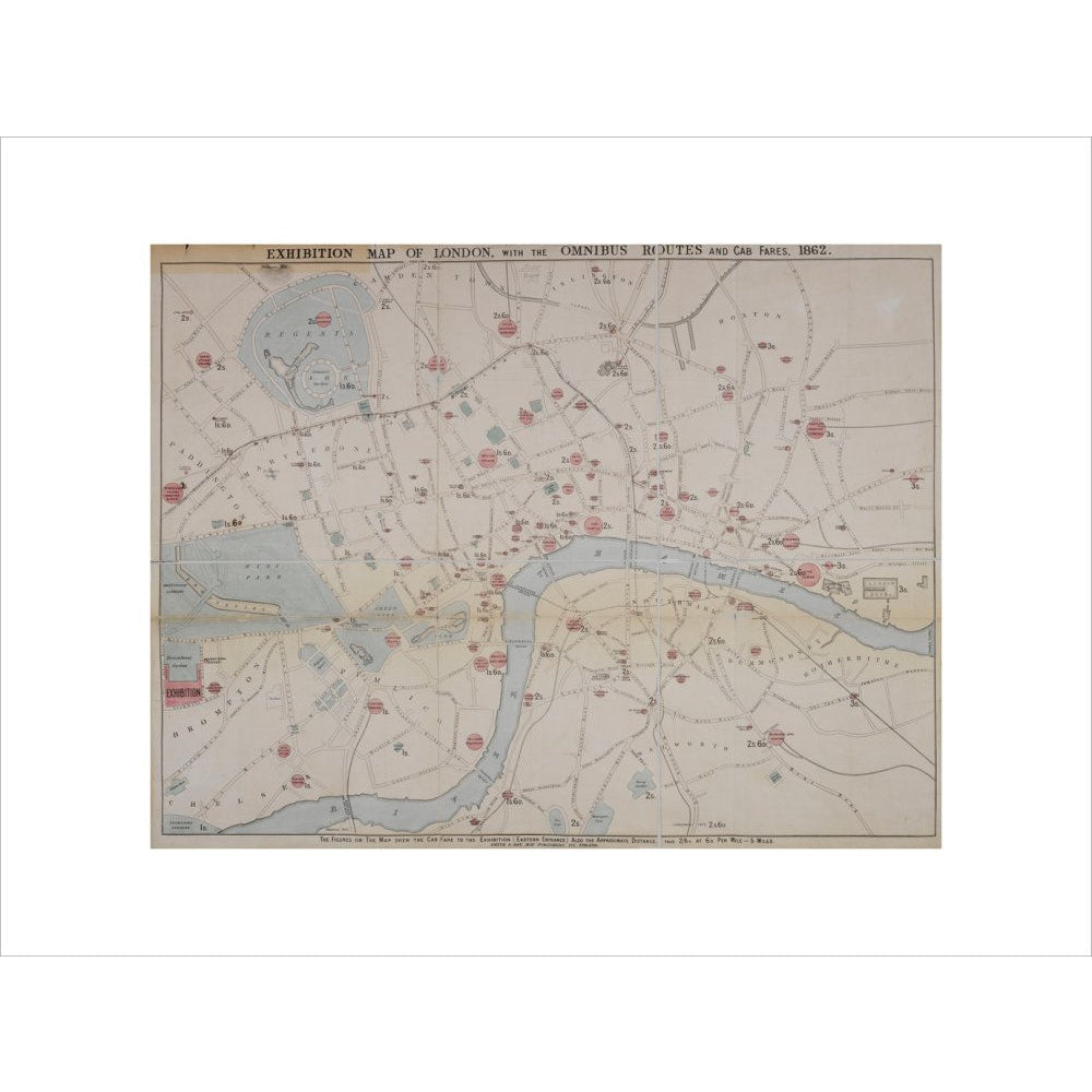 1862 map of London with bus and cab routes print