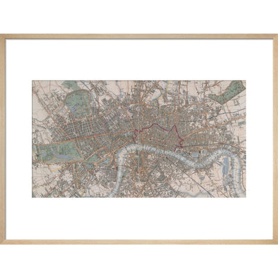 Cross's Map of London print in natural frame