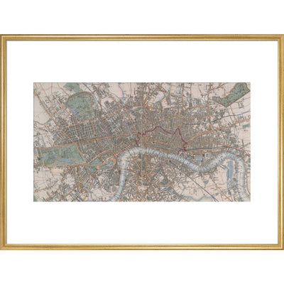 Cross's Map of London print in gold frame