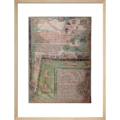 Map of Jerusalem print in natural frame