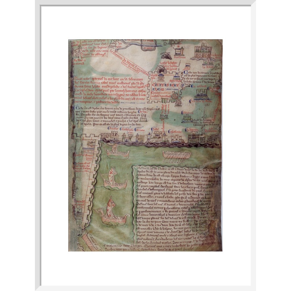 Map of Jerusalem print in white frame