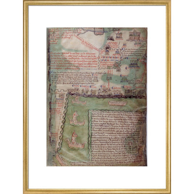 Map of Jerusalem print in gold frame