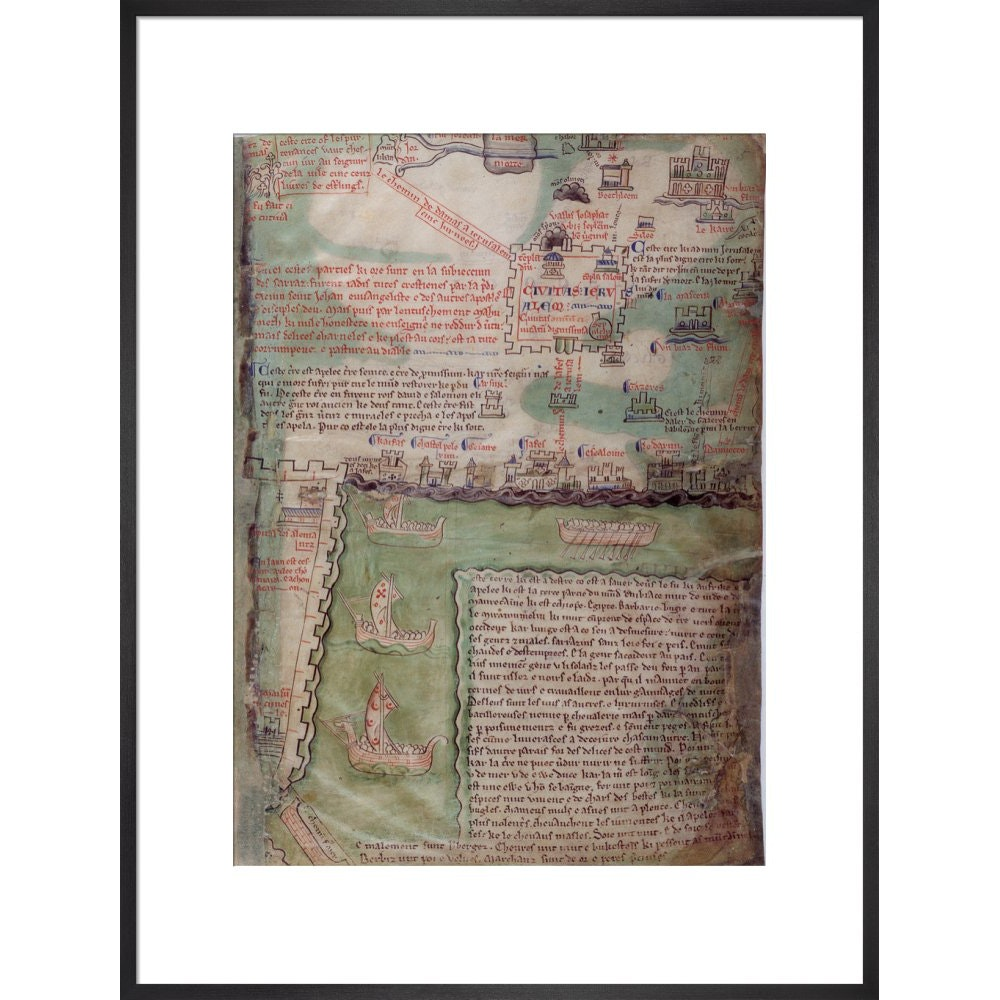 Map of Jerusalem print in black frame