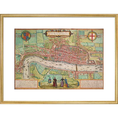 Map of London print in gold frame