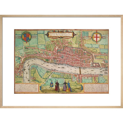 Map of London print in natural frame