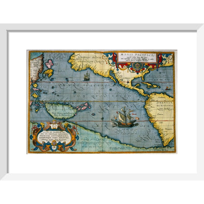 Map of the Pacific Ocean print in white frame