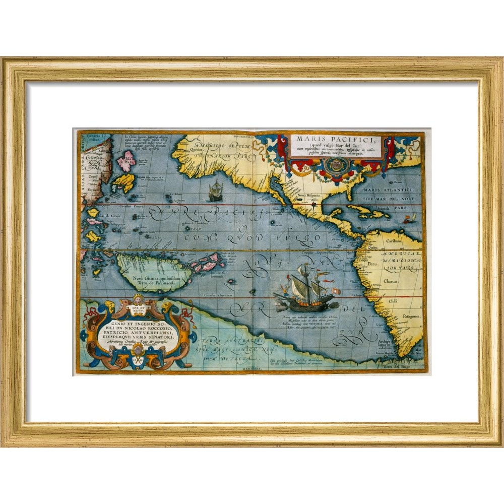Map of the Pacific Ocean print in gold frame