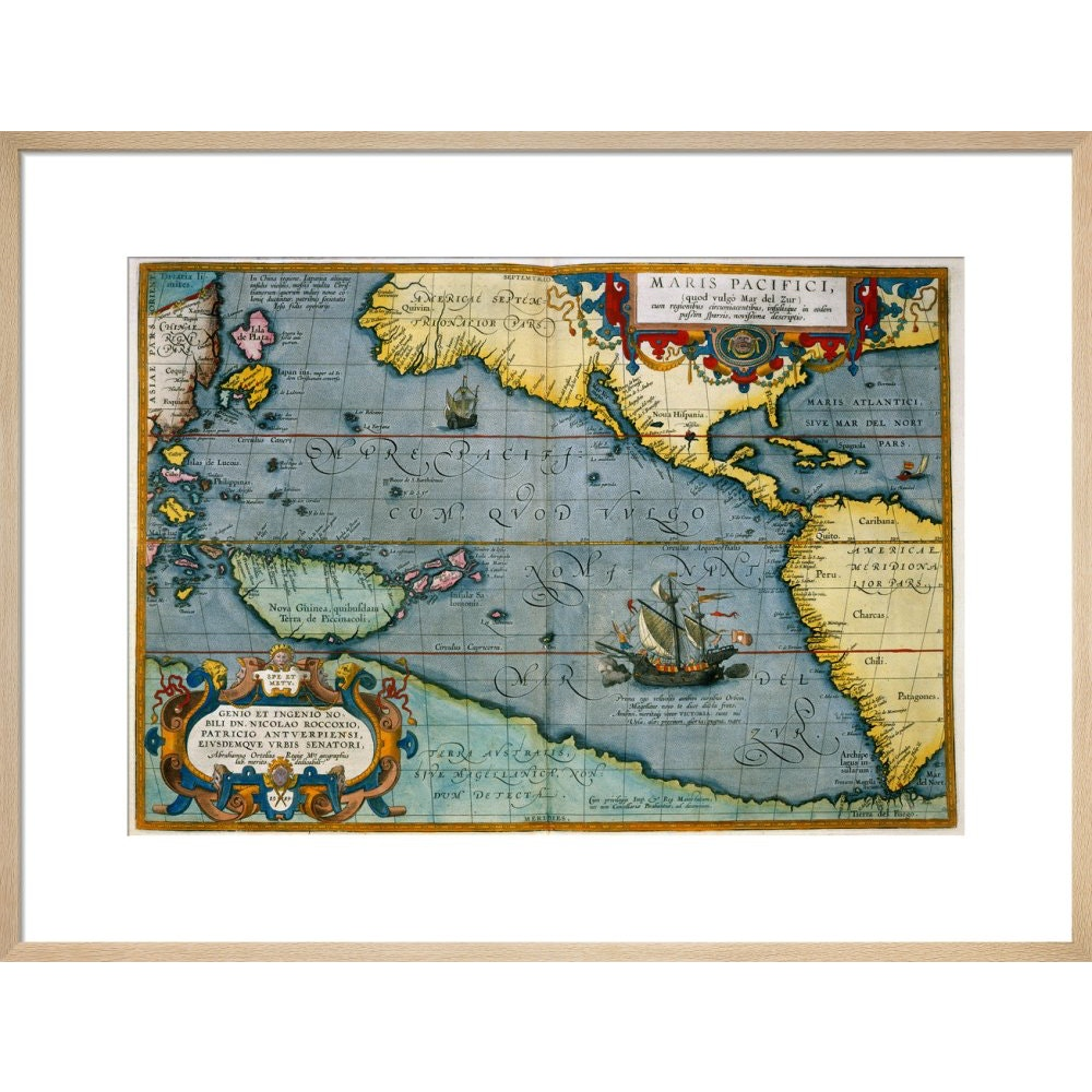 Map of the Pacific Ocean print in natural frame
