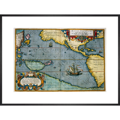 Map of the Pacific Ocean print in black frame