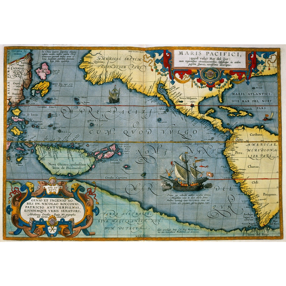 Map of the Pacific Ocean print