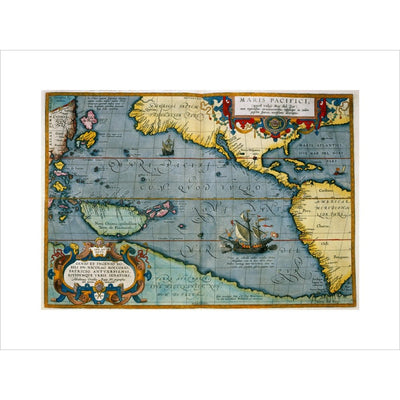 Map of the Pacific Ocean print unframed