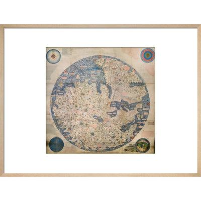Mappa Mondo print in natural frame
