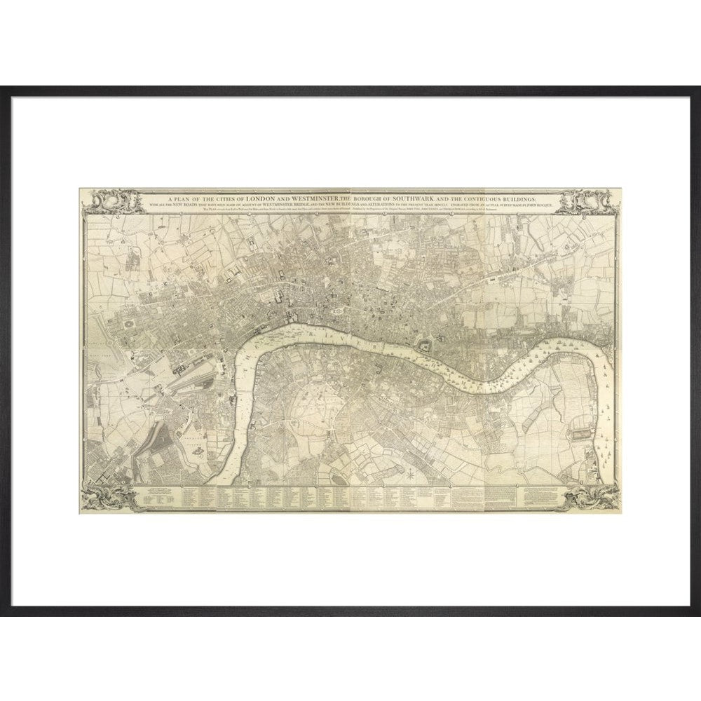 Rocque map of London 1745 print