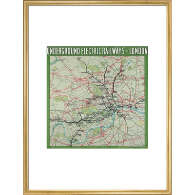 The London Underground print in gold frame